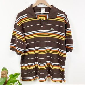 Vintage Lacoste Striped Short Sleeve Polo Shirt
